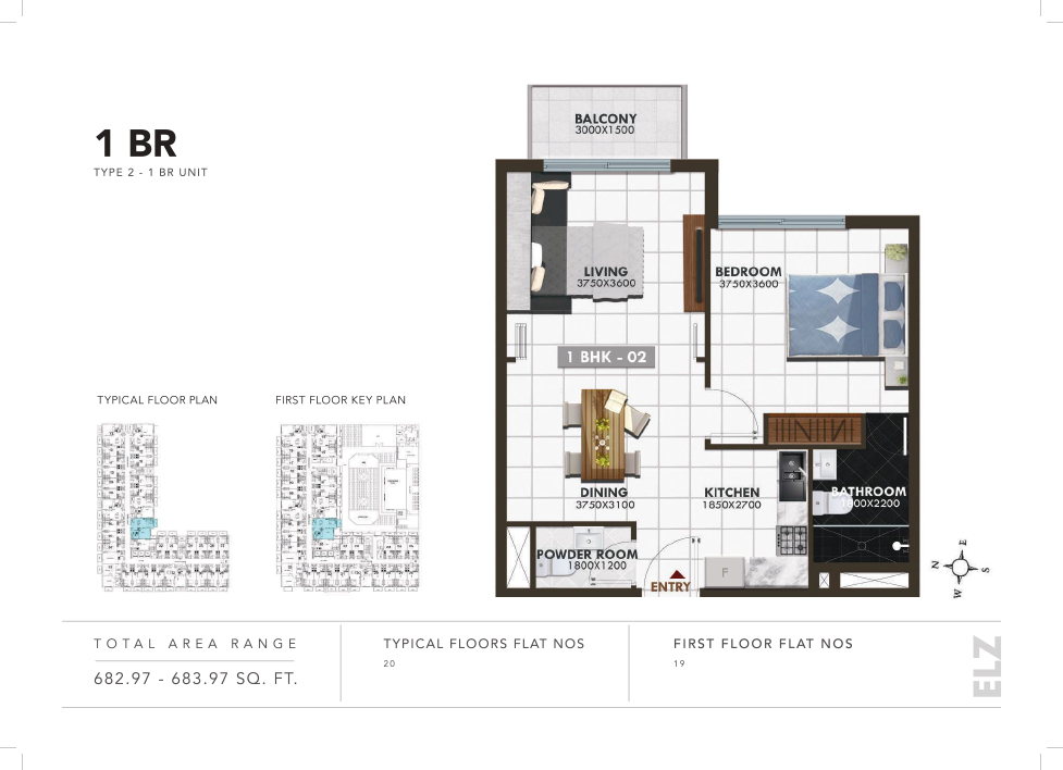 ELZ Residence by Danube Properties at Arjan - Floor Plan
